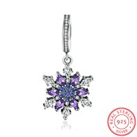 Wholesale Pandora Star Necklace - Luxury S925 Sterling Silver Snowflake Charms Pendants for DIY Bracelet & Necklace Jewelry Making Pandora Jewelry Accessories