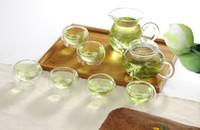 juegos de tetera de vidrio resistente al calor al por mayor-8pcs / set Nueva llegada tetera de vidrio resistente al calor conjunto 1pcs 250ml tetera + 1 pc 200 ml taza de té + 6 unids 50 ml taza doble g1133