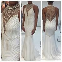 Wholesale Dress Handwork - 2017 Sparking Beaded White Prom Dresses Formal Party Gowns Custom Handwork Plus Size Vestido de fiesta Women Evening Gowns