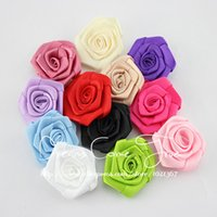 """Wholesale Wholesale Wedding Dress Satin Fabric - 50pcs lot 1.8"""" 12Colors Fashion Handmade Lovely Satin Ribbon Rolled Fabric artificial Flowers For Girl Hair Accessories Dress"""