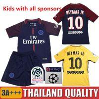 Wholesale Short Enfant - Neymar JR Survetement Football 2017 2018 di maria Enfant Maillot Kids Kits 17 18 Maillot de Foot Shirt Boys Children soccer jerseys Uniforms