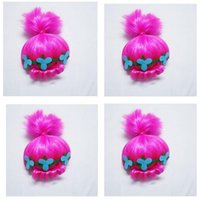 Wholesale Wig Supplies Free Shipping - Trolls Wig For Kids with Headband Poppy Costume Children Cosplay Party Supplies Trolls Wig Christmas Gifts 50pcs DHL Free Shipping