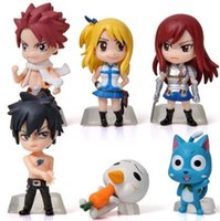 Wholesale Anime Figure Fairy Tail - 6Pcs Set Anime Cartoon Character Fairy Tail Natsu Gray Lucy Erza Figure Action Doll Toys Great Gift