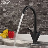 Wholesale thermostatic kitchen mixer - Wholesale- Xueqin Free Shipping Black Double Handle Kitchen Basin Sink Water Faucet Nickle Brush Bathroom Cold Hot Mixer Tap Faucet Spout