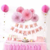 Sunbeauty A Set Pink Theme Happy Birthday Decoration DIY Niños Party Favor Princess Happy Birthday Party Decoraciones