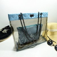 Wholesale Wholesale Clear Pvc Woman Handbags - 2pcs set new pattern 6 color Jelly Bag pvc clear Beach Bags composite bag Travel Large Capacity beach Handbags Fashion Female Tote yrr-60