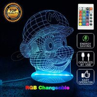 Wholesale Mario Wedding - Super Mario Bros Action Figure Toy Decoration Light LED USB Colors Changeable 3D Touch Night Light FOR Home Party Decoration