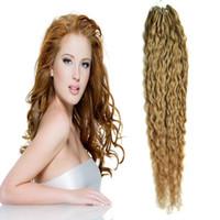 Wholesale Micro Loop Hair Extensions Mongolian - Brazilian virgin hair honey blonde micro loop human hair extensions rubio 27 100g kinky curly micro loop hair extensions