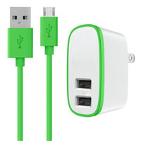 Wholesale retail direct - 2 in 1 EU US UK Plug 10W 2.1A Dual USB Port Wall Charger + USB Cable for mobile phone With Retail package