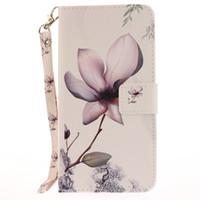 Wholesale Flip Paint - Painted Magnolia flower pattern flip stand PU leather case for iphone 5 5s 6 6 6s 6plus 6splus 7 7 plus card slot wallet phone cases