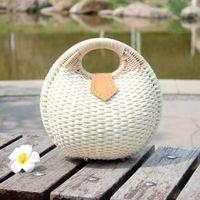 Wholesale Ladies Handbags For Travelling - 2017 new fashion holiday handwork Straw mini bags for women summer beach handbag Shell shape pure color white ladies Totes