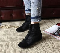Wholesale Skull Wedges - European station 16 new leather horse hair increased black skull bare boots women boots with a single slope
