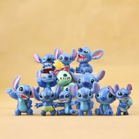 Wholesale Display Birthday Toys - 12pcs set Stitch Figures Doll Toys Character Display Figures Kids Mini Stitch PVC Action Figure Birthday Xmas Gifts