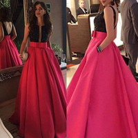 Wholesale plunging neckline sexy photos for sale - Group buy 2017 Elegant Long A Line Evening Dresses Plunging Neckline Black Sequined Fuchsia Satin Occasion Gowns with Pockets Prom Party Gowns Backles