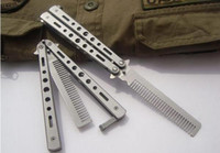 Wholesale Practice Balisong - Pro Salon Stainless Steel Folding Practice Training Butterfly Balisong Style Knife Comb Tool Black,Silver Cool steel comb