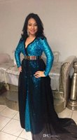 Wholesale Evening Gowns For Muslim Women - Muslim Long Sleeve Evening Dresses Morocco Party Elegant for Women V Neck Long Sleeve Sequined Formal Gowns With Chiffon Sweep Train