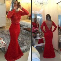 Wholesale Long Sleeve Evening Dresses Online - 2017 Red Lace Evening Gowns Dresses With Long Sleeve Scoop Neck Mermaid Open Back Prom Dress Online Robe De Soiree Longue