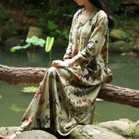 Wholesale Chinese Dresses Plus Size Women - Wholesale- SERENELY Vestidos 2017 Spring Autumn Women Dress Chinese Robes Vintage Print Plus Size Linen Dress Long Maxi Dress S30