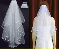 Wholesale Bride Combs - Free Shipping 2017 White Ivory Bridal Veils 2 Layers With Comb Pearls Ribbon Edge Tulle Veil for Church Wedding Bride In Stock