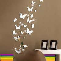 Wholesale 3d Mirror Butterflies - Mirrorlike Butterfly Wall Mirrors Surface Acrylic Mirrored Decorative Wall stickers 3D Home Decoration Butterflies Art Paper