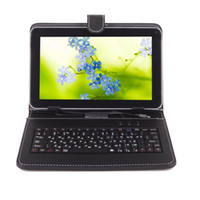 Wholesale universal inch android tablet keyboard resale online - Universal Inch Keyboard Case With USB Keyboard Protective Leather Cases Stand Cover for A33 Android Tablet PC