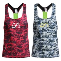 Wholesale Tight Fit Tee S - Wholesale- Fashion Tight Y-Back Men's Keep Fit Style Vest Camouflage Quick Dry Tank Tops Breathable Bodybuilding Tank Top Sleeveless Tee