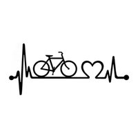 Wholesale Cycling Stickers Decals - 18.5cm*8cm Bicycle Heartbeat Lifeline Cycling Fashion Creative Classic Personality Vinyl Stickers Car Styling Decals