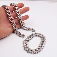 Wholesale Stainless Steel Bracelet 15mm - Charming Gifts Strong Link 10mm 15mm Huge Silver Cuban Curb Chain Necklace Bracelet Stainless Steel Jewelry Set Retro Clasp
