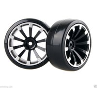 Wholesale Hsp Rc Tires - 4x RC Hard Tires Tyre Plastic Wheel Rim HSP HPI 1:10 On-Road Drift Car 601B-6015