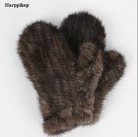 Wholesale Mans Martens - Wholesale- Harppihop Fur Genuine-Mink-Fur sofe -Gloves natural marten fur Mitten-New-Fur-Design-for-this-Winter-black and brown colors