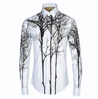 Wholesale Abstracts Painting High - New Arrival Fashion Brand Mens 3D Abstract Painting Print Shirt Style 3D Shirt Long Sleeve High quality material Dress Shirts