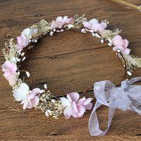 Wholesale White Plastic Hoops - Bud Silk Flower Princess Head Hoop,pink white wedding flower Girl garlands children's wedding veil Hair Accessories 10pcs A7364