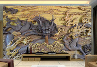 Fabric carved wood moulding - 3D photo wallpaper custom wall murals wallpaper mural Dragon Shengshi wood carving TV background wallpaper living room wall decor