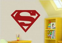Wholesale Carved Doors - Hot The Avengers superhero Superman logo pvc carve wall stickers home decals cafe bar dormitory door decoration DIY