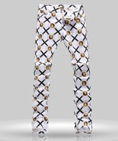 tops exclusivos venda por atacado-Top Quality Design Original dos homens Tendência Única Jeans Punk Rock DS Estilo DJ Lion head Impresso Palco Jeans Slim Fit Jeans Motocicleta