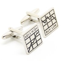 """Wholesale Gift Boxes Buy - """"SELL HIGH"""" """"BUY LOW""""Silver Stock Market Cufflinks for Mens Perfect Gift Logo Custom Hot Sale with Black Bag and Box 550061"""