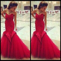 Wholesale Perfect Pear - Perfect Lace up Back Puffy Criss Cross Tulle Red Mermaid Mermaid Prom Dresses 2017 Long Evening Dresses