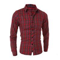 vestido longo de algodão vermelho venda por atacado-Atacado- 2015 nova marca de algodão cor xadrez vermelho moda Mens camisas de vestido manga comprida Slim Fit Casual Social Camisas Masculinas M-XXL