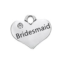 Wholesale Antique Bridesmaid Bracelets - Hot Sell Clear Crystal Bridesmaid Heart Pendant Engraved Words With Antique Silver Plated Fashion Charm DIY Necklaces&Bracelets