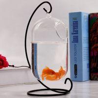 Wholesale Desktop Bowling - Hanging Glass Vase Creative Small Fish Tank Aquarium Fish Bowl With Stand For Office Desktop Decoration