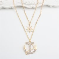 Wholesale gold anchor pendant necklace resale online - Fashion Necklace Gold Plated Anchor Pendants With Rhinestone Double Chain Long Necklaces Jewelry For Women Gift