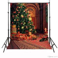 фотографии рождественские цифровые фоны оптовых-5x7ft винил цифровой Рождественская елка подарок игрушки фотостудия фон фон
