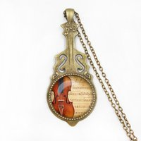 Wholesale Wholesale Piano Crystal - Choker Necklace Bronze Plated Piano and Music Note Pattern Necklace Pendant for Women Girls Sweater Chain