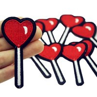 Wholesale Cheap Clothes Fabric - 10Pcs Heart Lollipop Cheap Patches Clothing Iron on Embroidered Patches Applique Red Patch Fabric Badge DIY Apparel Accessories