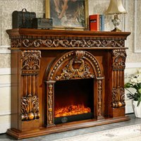 Wholesale Classic European solid wood carved decorative fireplace simulation flame electric fireplace living room furniture