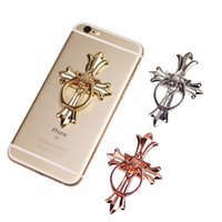 Wholesale Rose Shape Rings - For iPhone 7 6 Samsung Smart Phone GPS MP3 Car Mount Stand Cross shape Metal Finger Ring Mobile Phone Smartphone Stand Hold