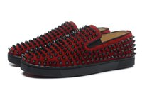 Wholesale Cheap Men Platform Shoes - 2017 Red Bottom Loafers For Men,Genuine Leather Spikes Platform Casual Sneakers Designer Spikes Wedding Party Flats Cheap Mens Shoes 39-46