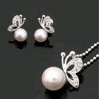Wholesale Wholesale Pearl Necklace Butterfly Earrings - 2017 Fashion Alloy Rhinestone Butterfly imitation pearl Earrings Necklace Jewelry Sets Wholesale For Women