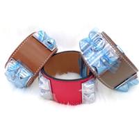 Wholesale Cheap Christmas Nails - 2017 Cheap wholesale H plain leather, four nails, rivets, leather bracelets, exaggerated punk, wide face Bracelets
