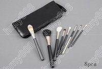 Wholesale Tint Brushes Wholesale - Brand Makeup Eyebrow Gel Tinted Hot sales Professional Brush 8 Pieces + leather Pouch(10pcs lot)